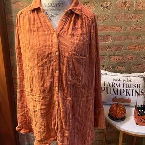 FREE PEOPLE Orange Flannel Top